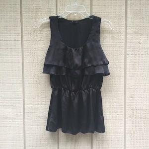 Forever 21 fluttery peplum waist black blouse, S